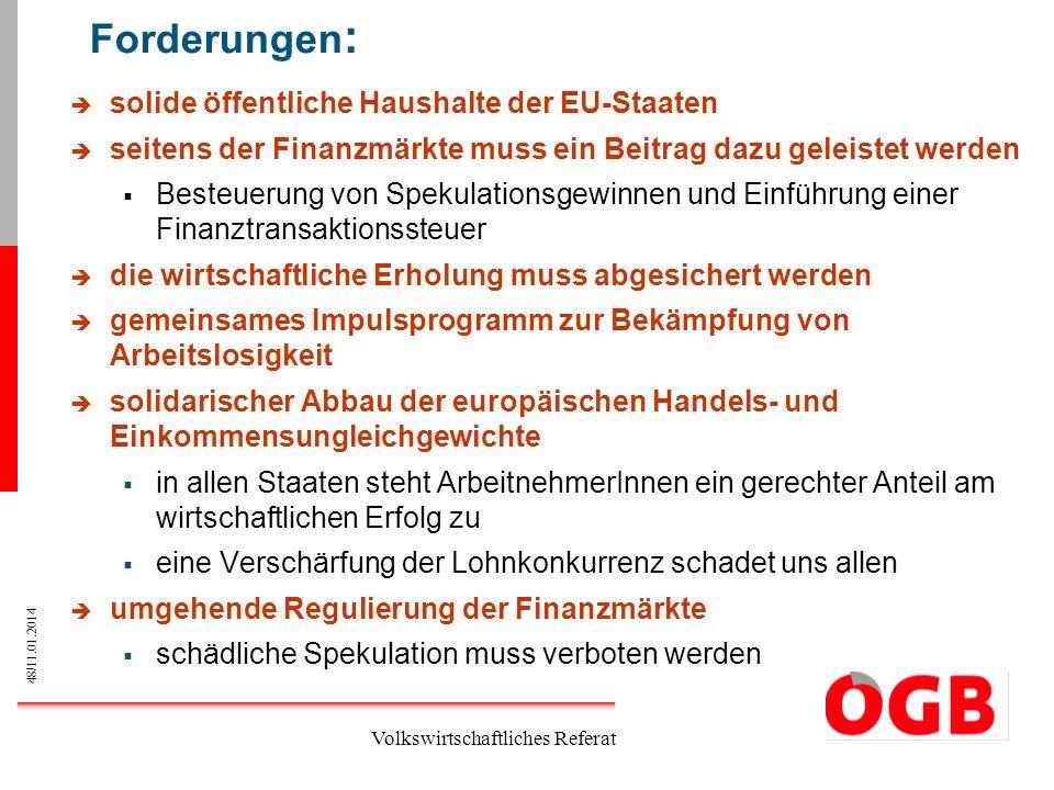 48/11.01.2014 Volkswirtschaftliches Referat Forderungen : solide öffentliche Haushalte der EU-Staaten seitens der Finanzmärkte muss ein Beitrag dazu g