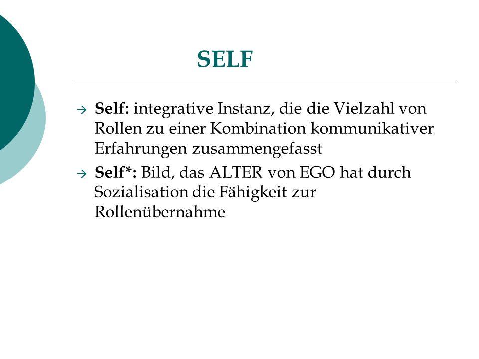 SELF Self: integrative Instanz, die die Vielzahl von Rollen zu einer Kombination kommunikativer Erfahrungen zusammengefasst Self*: Bild, das ALTER von