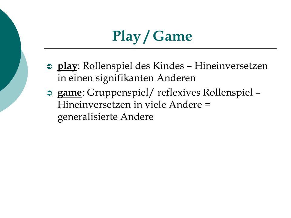 Play / Game play : Rollenspiel des Kindes – Hineinversetzen in einen signifikanten Anderen game : Gruppenspiel/ reflexives Rollenspiel – Hineinversetz