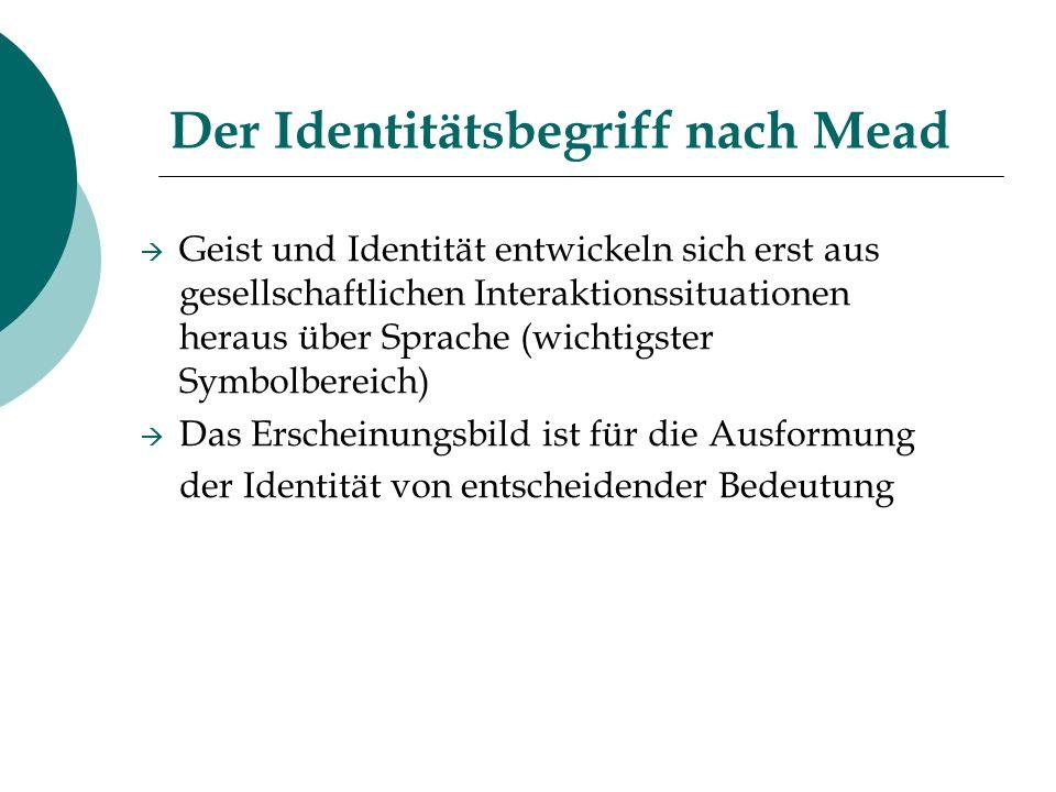 Der Identitätsbegriff nach Mead Geist und Identität entwickeln sich erst aus gesellschaftlichen Interaktionssituationen heraus über Sprache (wichtigst