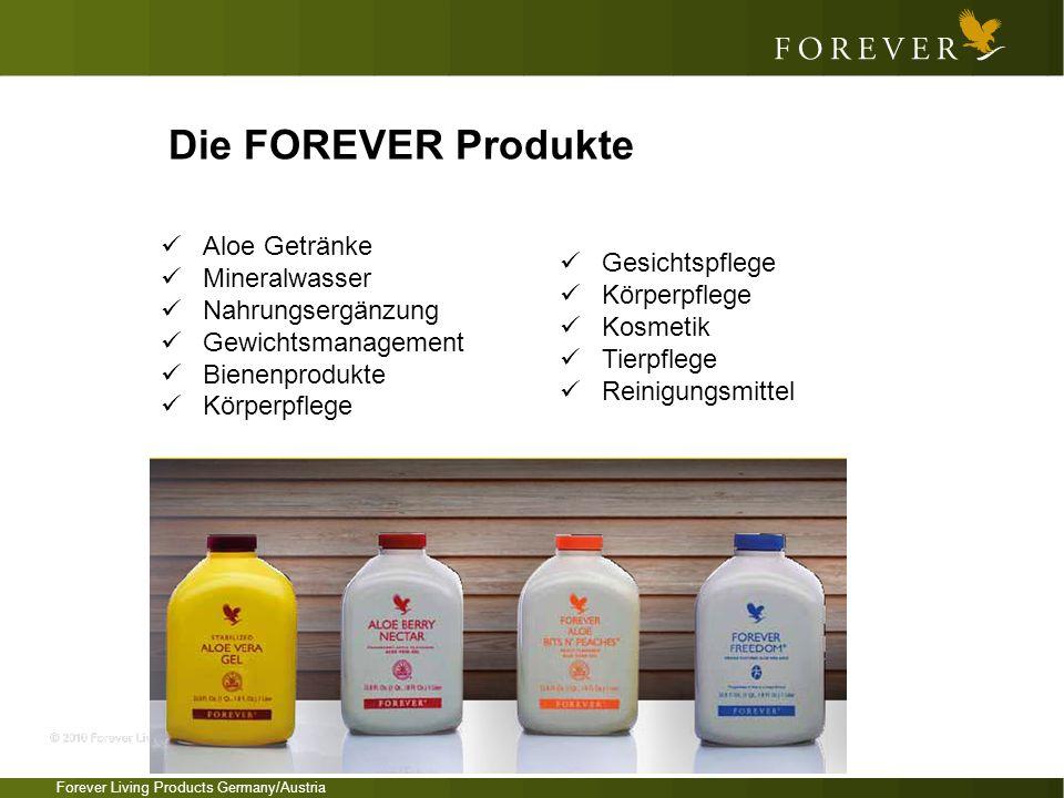 Forever Living Products Germany/Austria Die FOREVER Produkte Aloe Getränke Mineralwasser Nahrungsergänzung Gewichtsmanagement Bienenprodukte Körperpfl