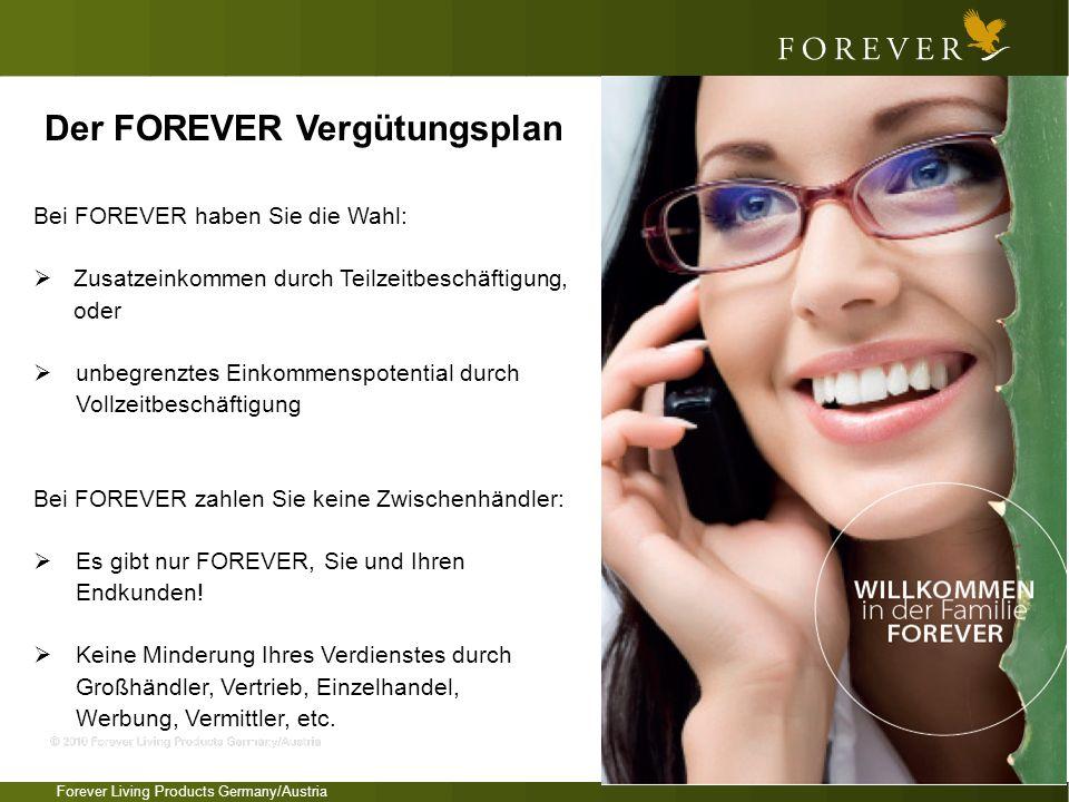 Forever Living Products Germany/Austria Bei FOREVER haben Sie die Wahl: Zusatzeinkommen durch Teilzeitbeschäftigung, oder unbegrenztes Einkommenspoten