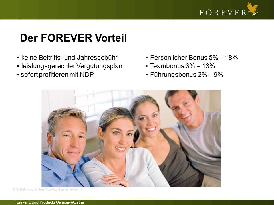 Forever Living Products Germany/Austria keine Beitritts- und Jahresgebühr leistungsgerechter Vergütungsplan sofort profitieren mit NDP Persönlicher Bo