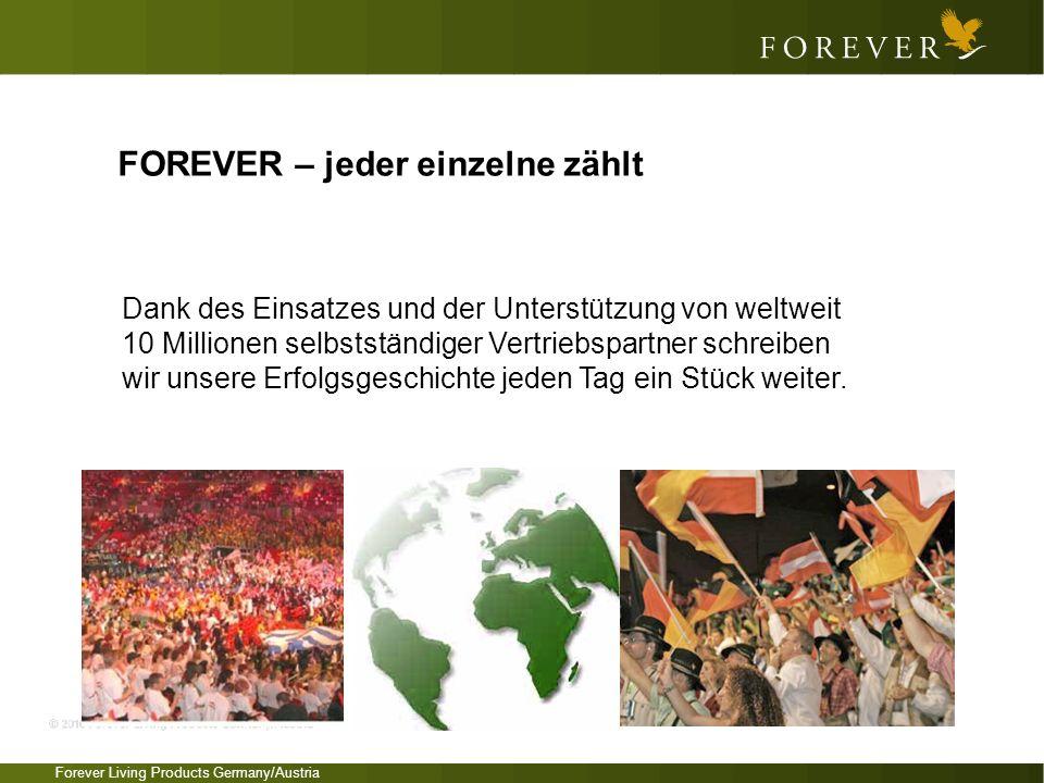 Forever Living Products Germany/Austria FOREVER – jeder einzelne zählt Dank des Einsatzes und der Unterstützung von weltweit 10 Millionen selbstständi