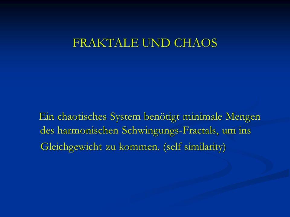 FRAKTALE UND CHAOS Ein chaotisches System benötigt minimale Mengen des harmonischen Schwingungs-Fractals, um ins Ein chaotisches System benötigt minim