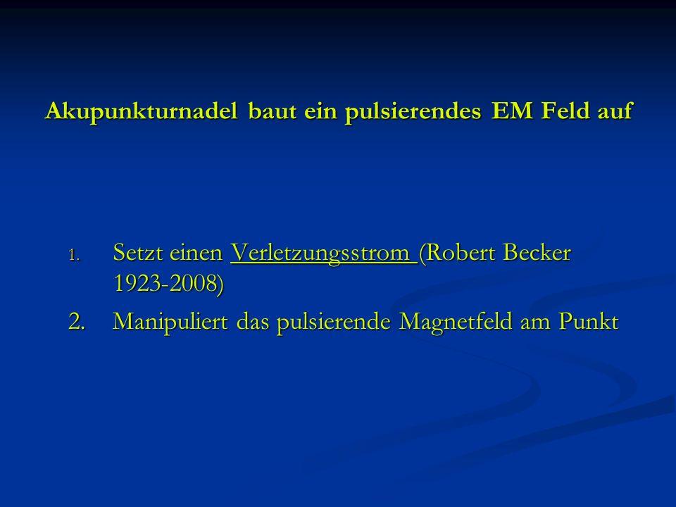 Akupunkturnadel baut ein pulsierendes EM Feld auf 1. Setzt einen Verletzungsstrom (Robert Becker 1923-2008) 2. Manipuliert das pulsierende Magnetfeld