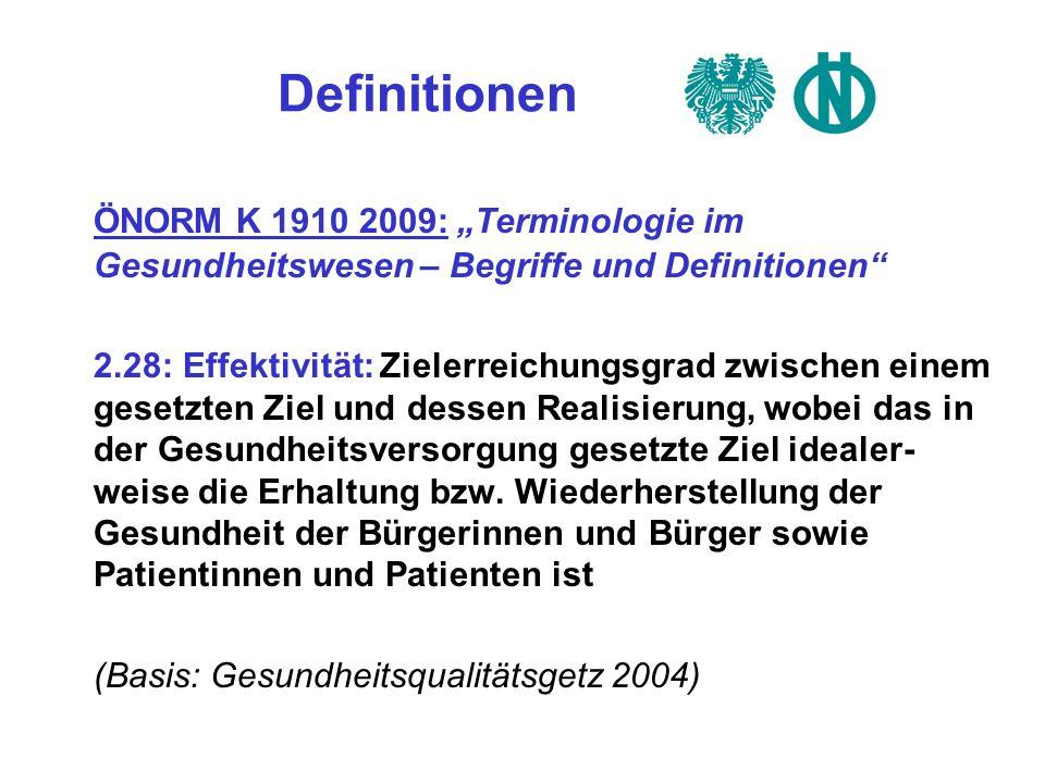 Definitionen ÖNORM K 1910 2009: Terminologie im Gesundheitswesen – Begriffe und Definitionen 2.28: Effektivität: Zielerreichungsgrad zwischen einem ge