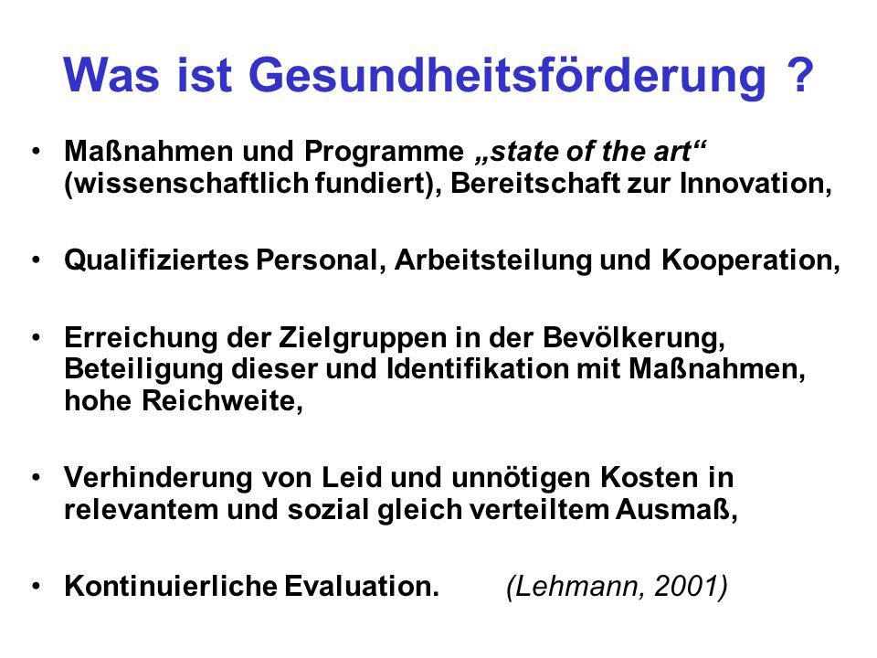 Was ist Gesundheitsförderung ? Maßnahmen und Programme state of the art (wissenschaftlich fundiert), Bereitschaft zur Innovation, Qualifiziertes Perso