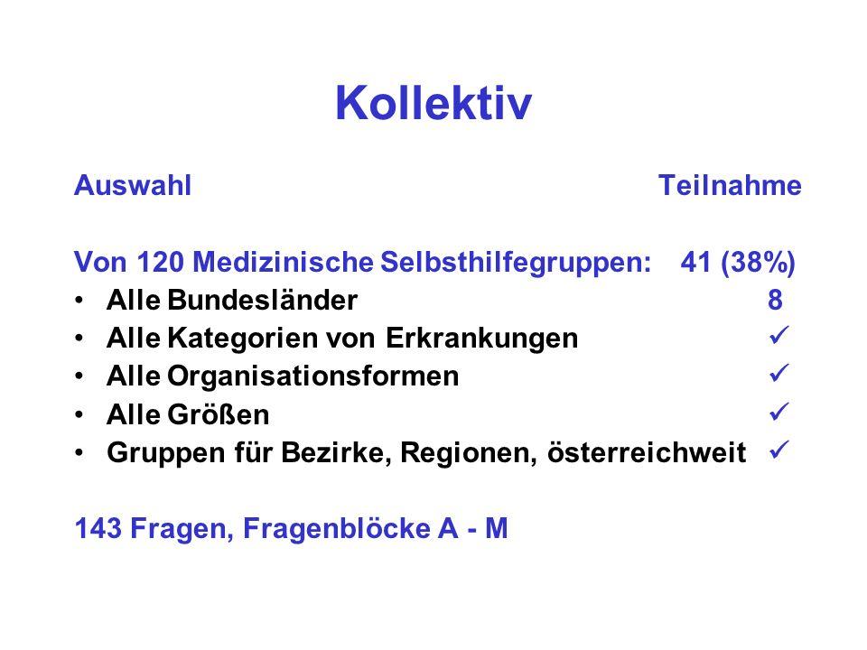Kollektiv Auswahl Teilnahme Von 120 Medizinische Selbsthilfegruppen: 41 (38%) Alle Bundesländer 8 Alle Kategorien von Erkrankungen Alle Organisationsformen Alle Größen Gruppen für Bezirke, Regionen, österreichweit 143 Fragen, Fragenblöcke A - M