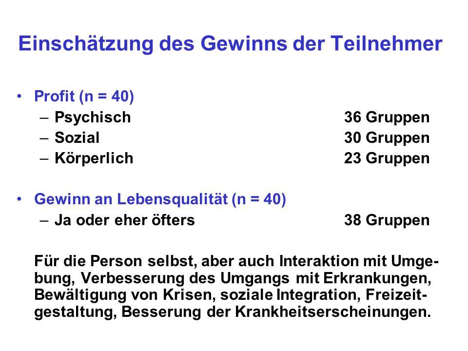 Einschätzung des Gewinns der Teilnehmer Profit (n = 40) –Psychisch36 Gruppen –Sozial 30 Gruppen –Körperlich 23 Gruppen Gewinn an Lebensqualität (n = 4