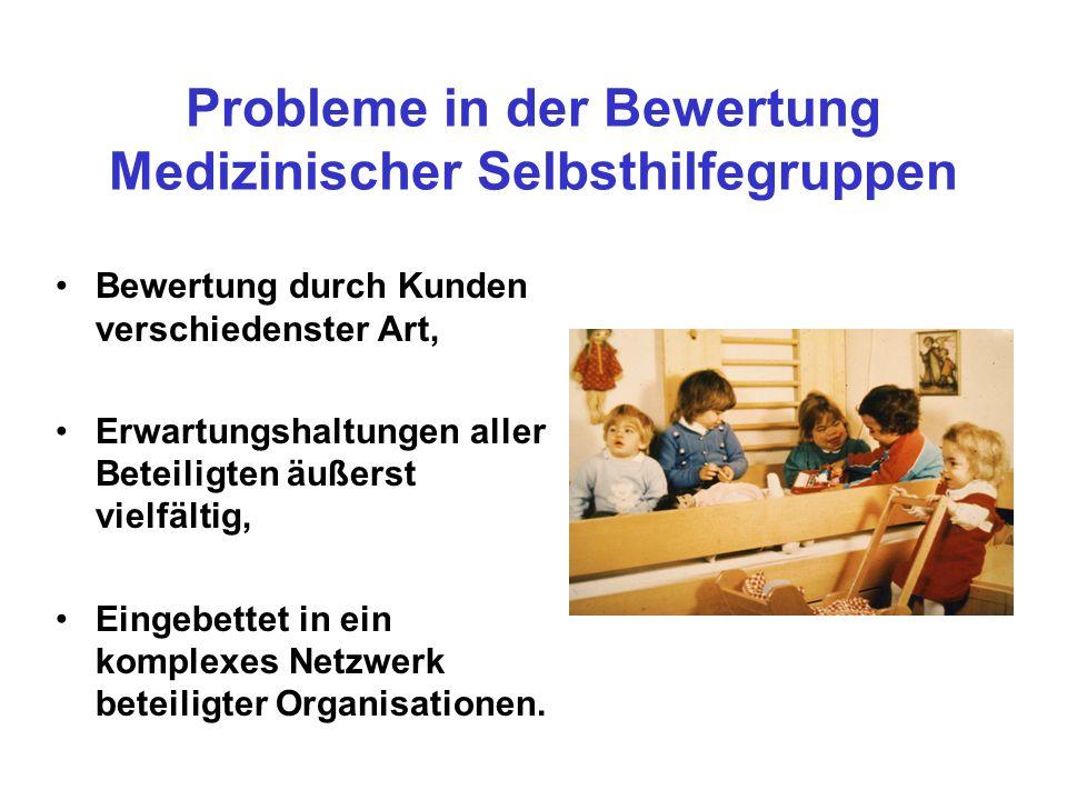 Probleme in der Bewertung Medizinischer Selbsthilfegruppen Bewertung durch Kunden verschiedenster Art, Erwartungshaltungen aller Beteiligten äußerst vielfältig, Eingebettet in ein komplexes Netzwerk beteiligter Organisationen.