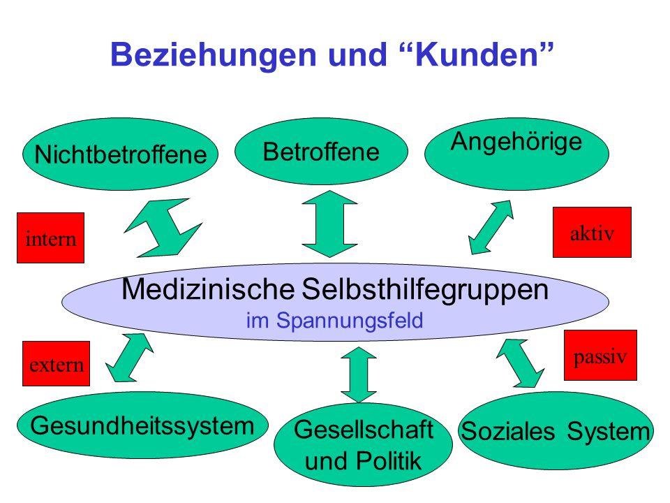 Beziehungen und Kunden Nichtbetroffene Betroffene Angehörige Gesundheitssystem Soziales System Gesellschaft und Politik Medizinische Selbsthilfegruppe