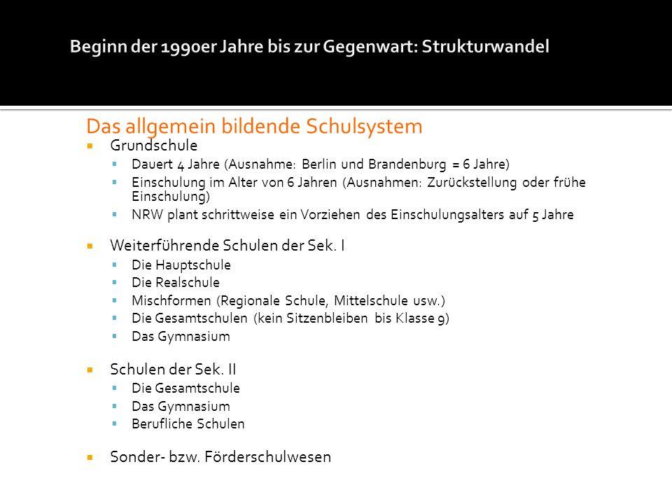 Das allgemein bildende Schulsystem Grundschule Dauert 4 Jahre (Ausnahme: Berlin und Brandenburg = 6 Jahre) Einschulung im Alter von 6 Jahren (Ausnahme