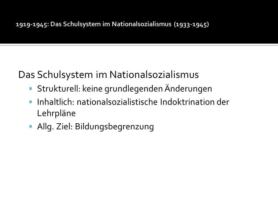 Das Schulsystem im Nationalsozialismus Strukturell: keine grundlegenden Änderungen Inhaltlich: nationalsozialistische Indoktrination der Lehrpläne All