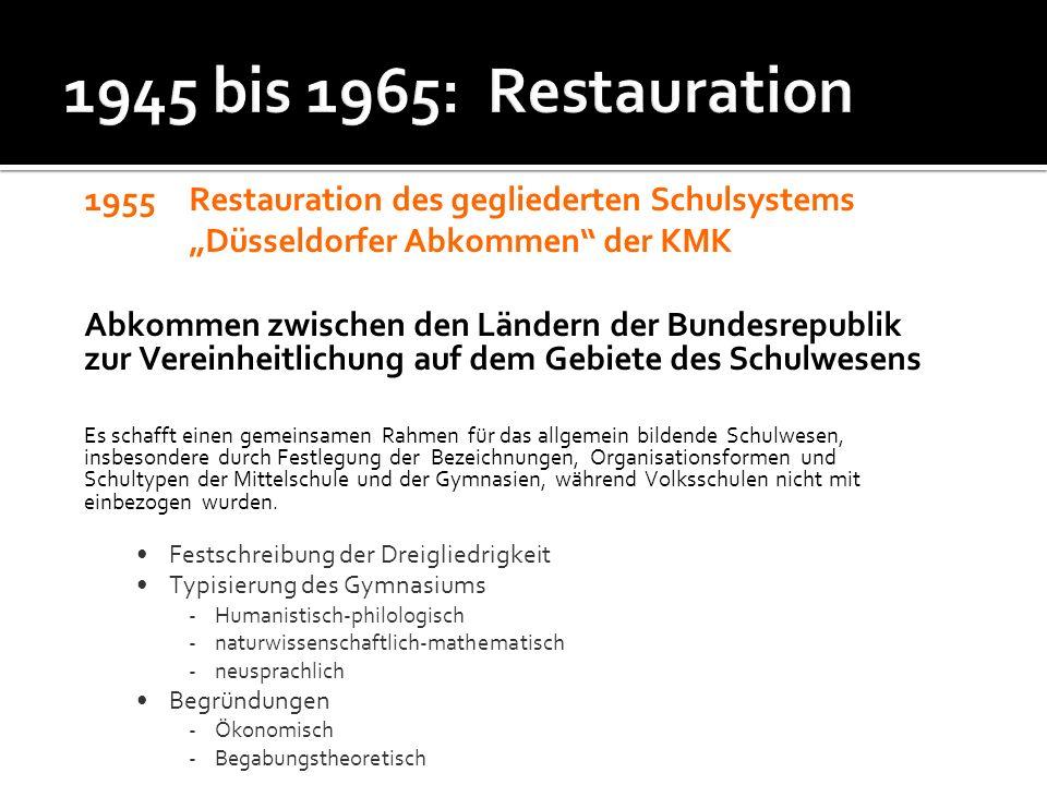 1955 Restauration des gegliederten Schulsystems Düsseldorfer Abkommen der KMK Abkommen zwischen den Ländern der Bundesrepublik zur Vereinheitlichung a