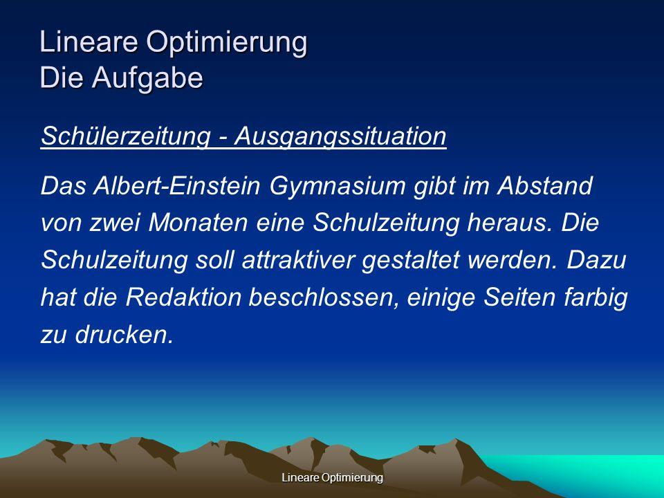 Lineare Optimierung Lineare Optimierung Die Aufgabe Schülerzeitung - Ausgangssituation Das Albert-Einstein Gymnasium gibt im Abstand von zwei Monaten