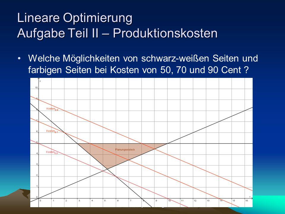 Lineare Optimierung Lineare Optimierung Aufgabe Teil II – Produktionskosten Welche Möglichkeiten von schwarz-weißen Seiten und farbigen Seiten bei Kos