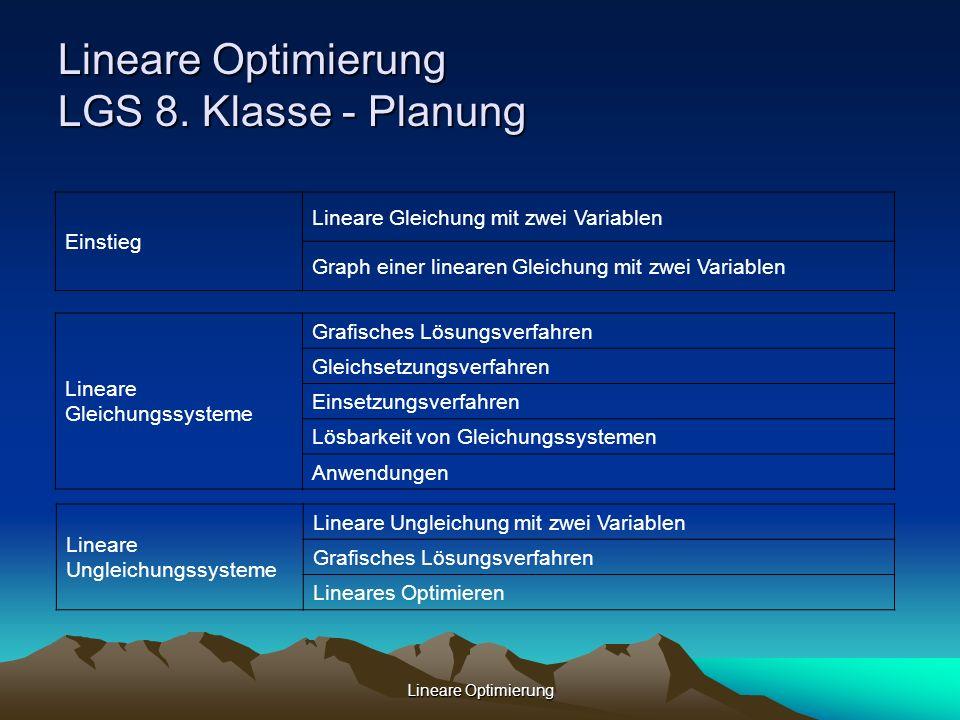 Lineare Optimierung Lineare Optimierung LGS 8. Klasse - Planung Lineare Ungleichungssysteme Lineare Ungleichung mit zwei Variablen Grafisches Lösungsv