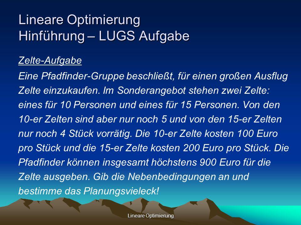 Lineare Optimierung Lineare Optimierung Hinführung – LUGS Aufgabe Zelte-Aufgabe Eine Pfadfinder-Gruppe beschließt, für einen großen Ausflug Zelte einz