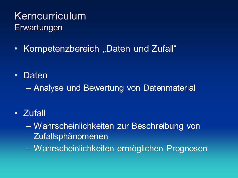 Kerncurriculum Erwartungen Kompetenzbereich Daten und Zufall Daten –Analyse und Bewertung von Datenmaterial Zufall –Wahrscheinlichkeiten zur Beschreib
