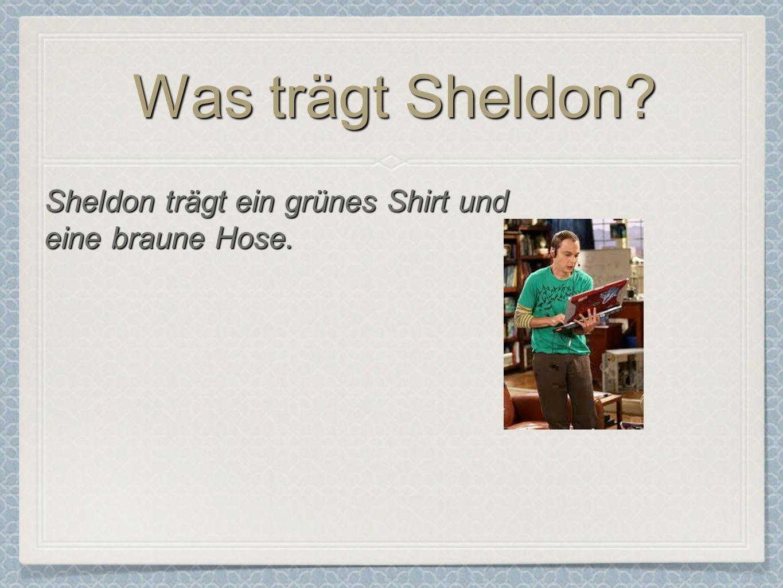 Was trägt Sheldon? Sheldon trägt ein grünes Shirt und eine braune Hose.
