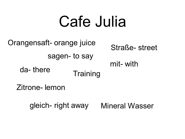 Cafe Julia Orangensaft- orange juice sagen- to say da- there mit- with gleich- right away Straße- street Training Mineral Wasser Zitrone- lemon