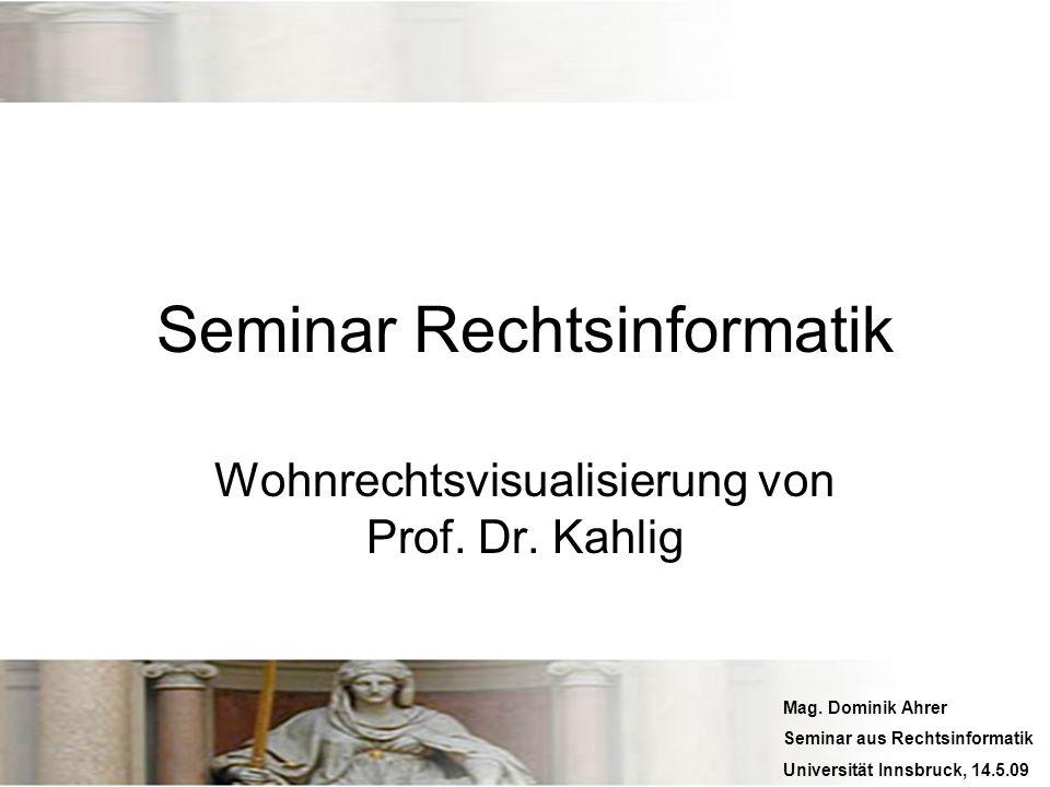 Mag. Dominik Ahrer Seminar aus Rechtsinformatik Universität Innsbruck, 14.5.09 Seminar Rechtsinformatik Wohnrechtsvisualisierung von Prof. Dr. Kahlig