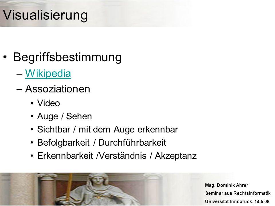 Mag. Dominik Ahrer Seminar aus Rechtsinformatik Universität Innsbruck, 14.5.09 Visualisierung Begriffsbestimmung –WikipediaWikipedia –Assoziationen Vi