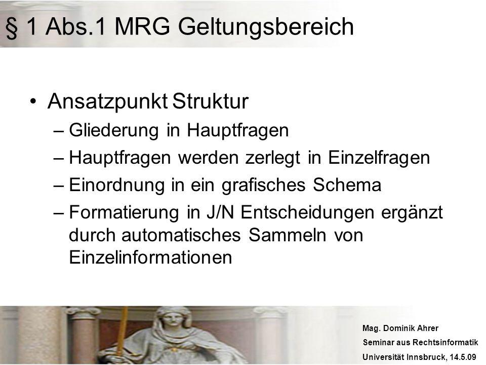 Mag. Dominik Ahrer Seminar aus Rechtsinformatik Universität Innsbruck, 14.5.09 § 1 Abs.1 MRG Geltungsbereich Ansatzpunkt Struktur –Gliederung in Haupt