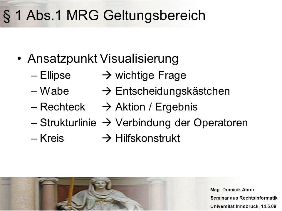 Mag. Dominik Ahrer Seminar aus Rechtsinformatik Universität Innsbruck, 14.5.09 § 1 Abs.1 MRG Geltungsbereich Ansatzpunkt Visualisierung –Ellipse wicht