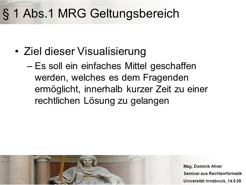 Mag. Dominik Ahrer Seminar aus Rechtsinformatik Universität Innsbruck, 14.5.09 § 1 Abs.1 MRG Geltungsbereich Ziel dieser Visualisierung –Es soll ein e