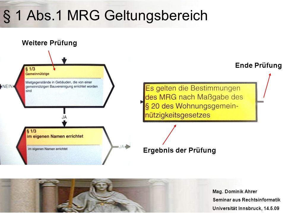 Mag. Dominik Ahrer Seminar aus Rechtsinformatik Universität Innsbruck, 14.5.09 Weitere Prüfung Ergebnis der Prüfung Ende Prüfung § 1 Abs.1 MRG Geltung