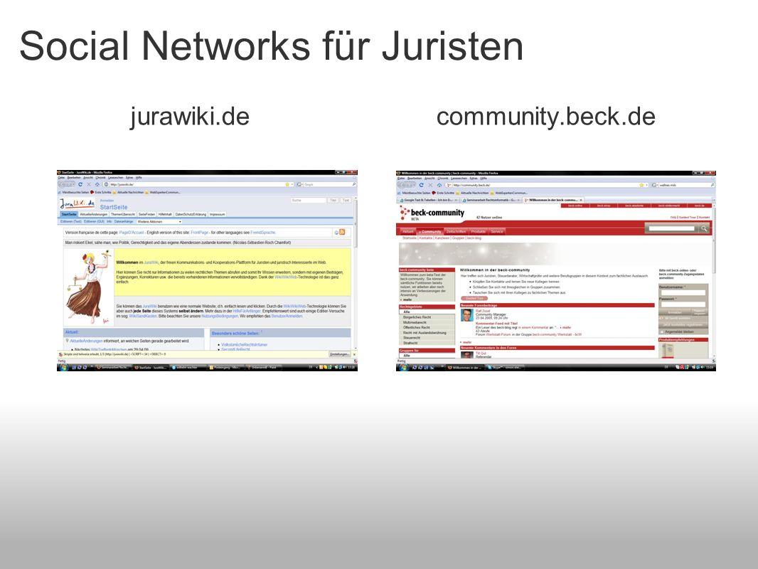 Social Networks für Juristen jurawiki.de community.beck.de