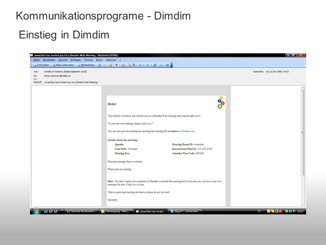 Einstieg in Dimdim Kommunikationsprograme - Dimdim