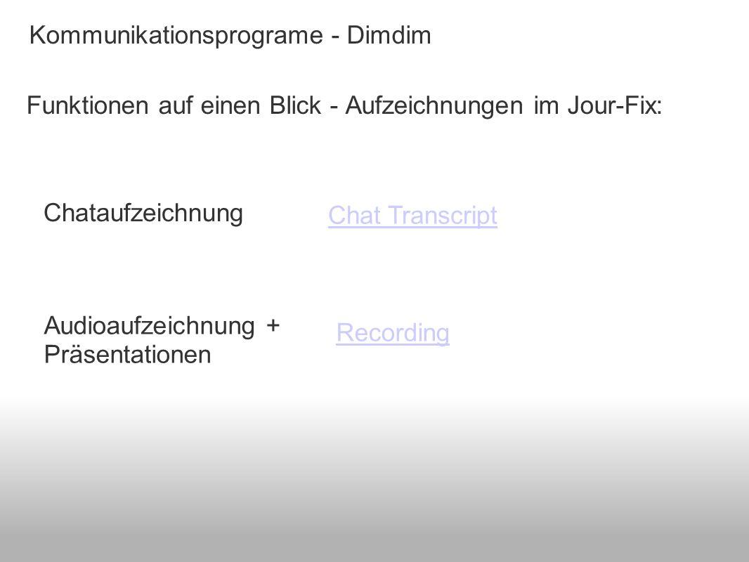 Kommunikationsprograme - Dimdim Funktionen auf einen Blick - Aufzeichnungen im Jour-Fix: Chat Transcript Recording Chataufzeichnung Audioaufzeichnung