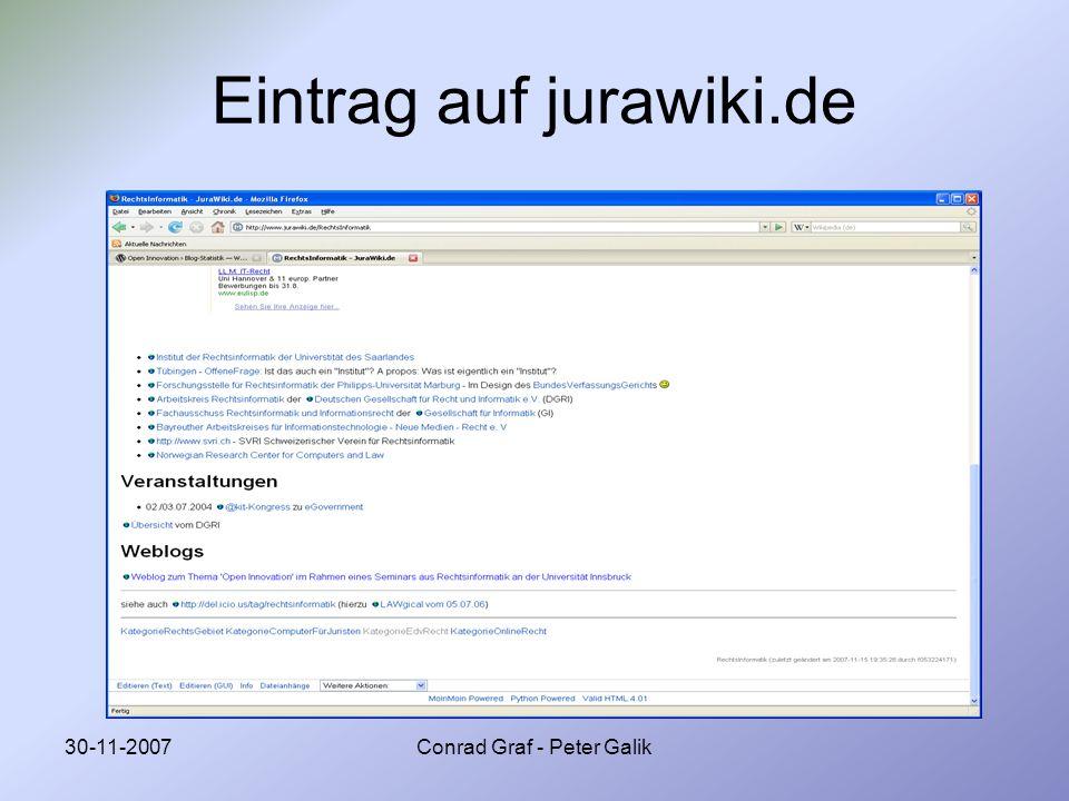 30-11-2007Conrad Graf - Peter Galik Eintrag auf jurawiki.de