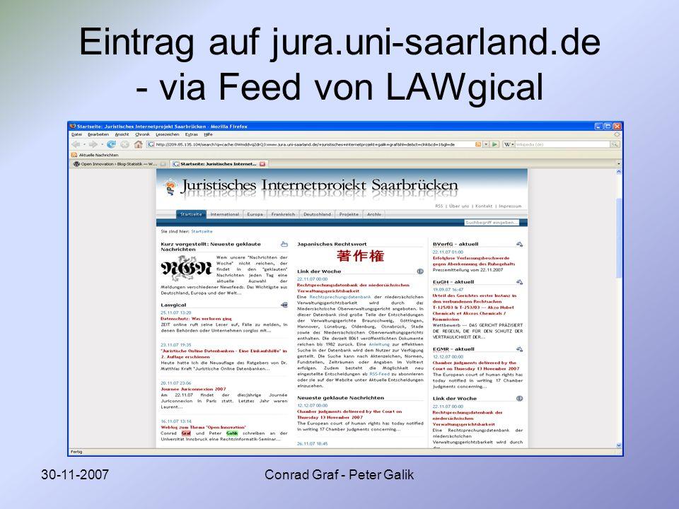 30-11-2007Conrad Graf - Peter Galik Eintrag auf jura.uni-saarland.de - via Feed von LAWgical