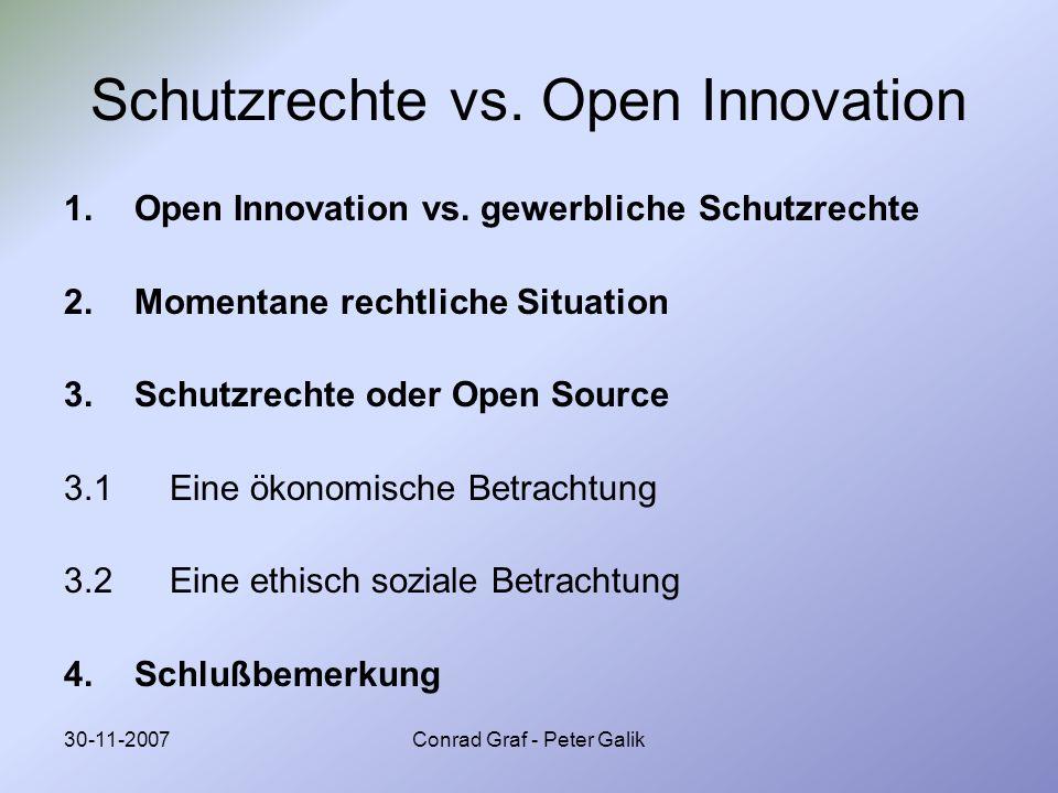 30-11-2007Conrad Graf - Peter Galik Schutzrechte vs. Open Innovation 1.Open Innovation vs. gewerbliche Schutzrechte 2.Momentane rechtliche Situation 3