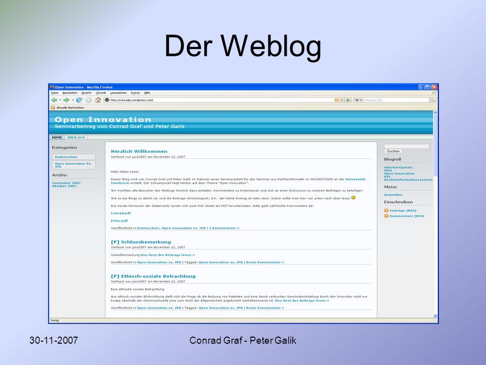30-11-2007Conrad Graf - Peter Galik Statistische Daten zum Weblog (Stand 29.11.2007 18.00 Uhr) Total Views: 349 Bester Tag: 119 (16.11.2007) Beiträge: 13 Kommentare: 5