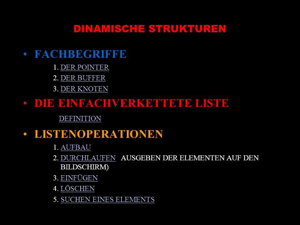 DINAMISCHE STRUKTUREN FACHBEGRIFFE 1. DER POINTERDER POINTER 2.