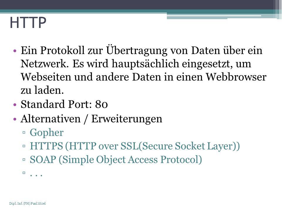 Seite 12 Dipl. Inf. (FH) Paul Mizel HTTP Ein Protokoll zur Übertragung von Daten über ein Netzwerk. Es wird hauptsächlich eingesetzt, um Webseiten und
