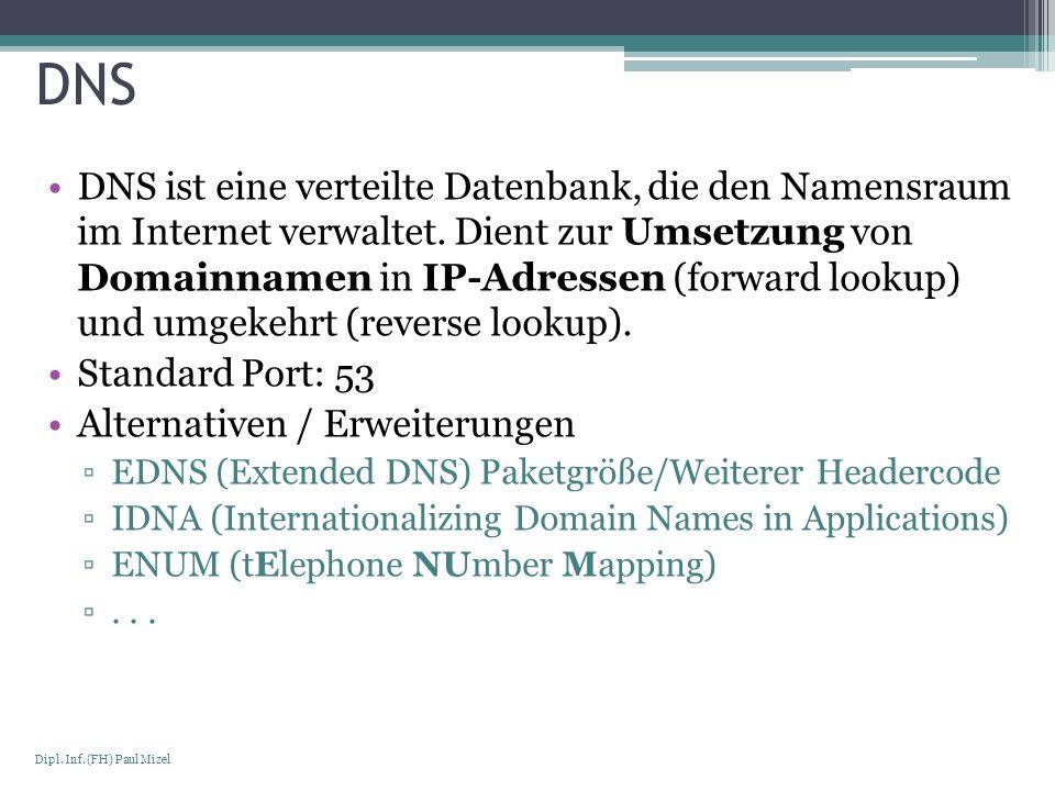 Seite 19 Dipl. Inf. (FH) Paul Mizel DNS DNS ist eine verteilte Datenbank, die den Namensraum im Internet verwaltet. Dient zur Umsetzung von Domainname