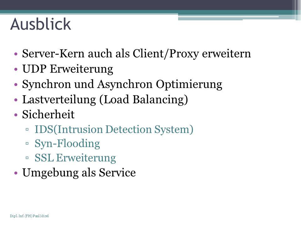 Seite 22 Dipl. Inf. (FH) Paul Mizel Ausblick Server-Kern auch als Client/Proxy erweitern UDP Erweiterung Synchron und Asynchron Optimierung Lastvertei