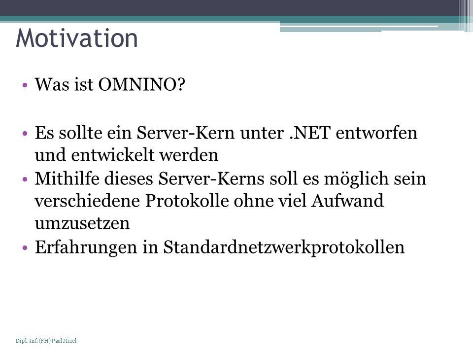 Seite 3 Dipl. Inf. (FH) Paul Mizel Motivation Was ist OMNINO? Es sollte ein Server-Kern unter.NET entworfen und entwickelt werden Mithilfe dieses Serv
