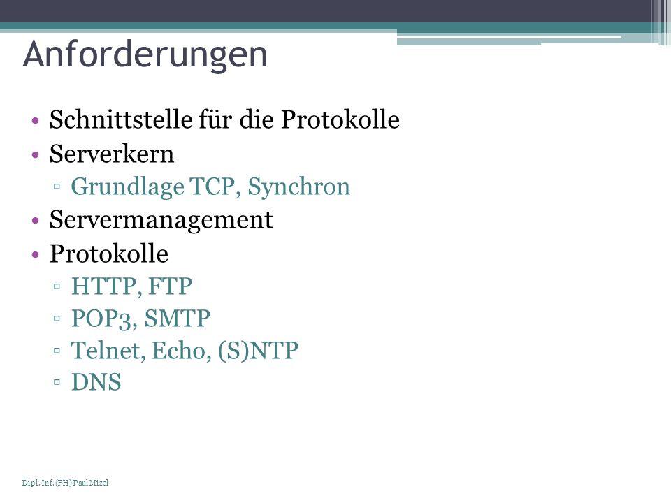 Seite 4 Dipl. Inf. (FH) Paul Mizel Anforderungen Schnittstelle für die Protokolle Serverkern Grundlage TCP, Synchron Servermanagement Protokolle HTTP,