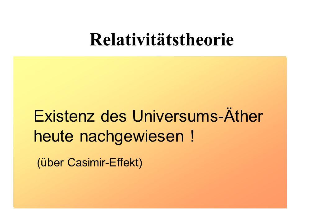 Relativitätstheorie Spezielle Relativitätstheorie widerlegt Äthertheorie bestätigt Äthertheorie Allgemeine Relativitätstheorie Existenz des Universums