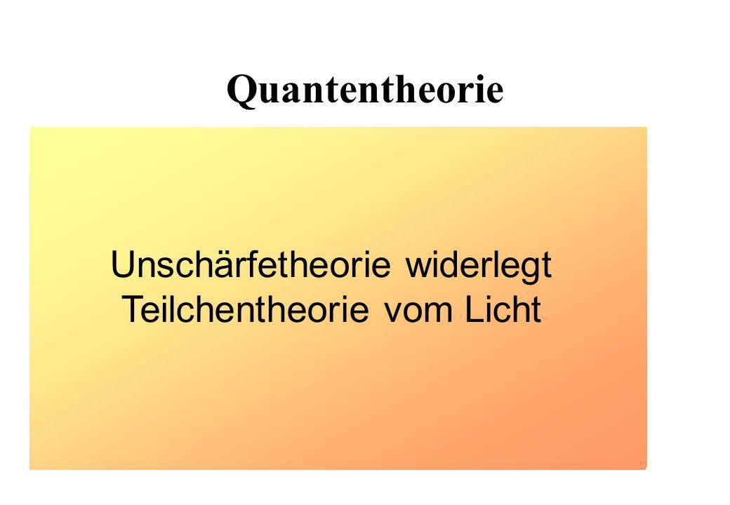 Quantentheorie Teilchentheorie des Lichts (gemäß Einstein) Licht als elektromagnetische Welle (gemäß Maxwell) Unschärfetheorie widerlegt Teilchentheor