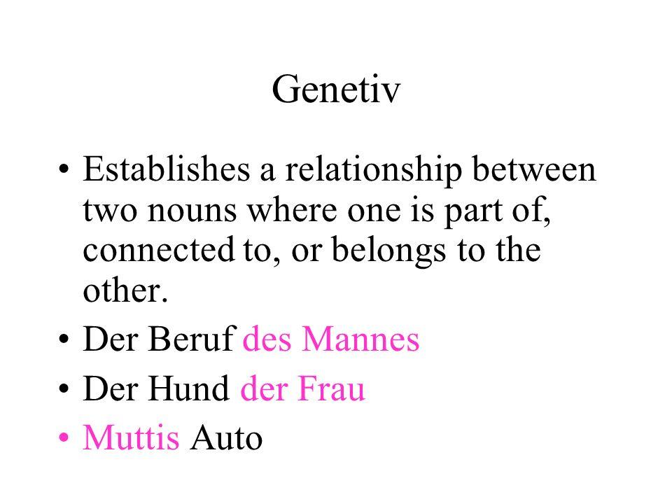 Genetiv (special) Genetiv Prepositions (waehrend, wegen, ausserhalb, innerhalb) Can be replaced with von (dative Prep.) Der Hund meines Vaters Der Hund von meinem Vater