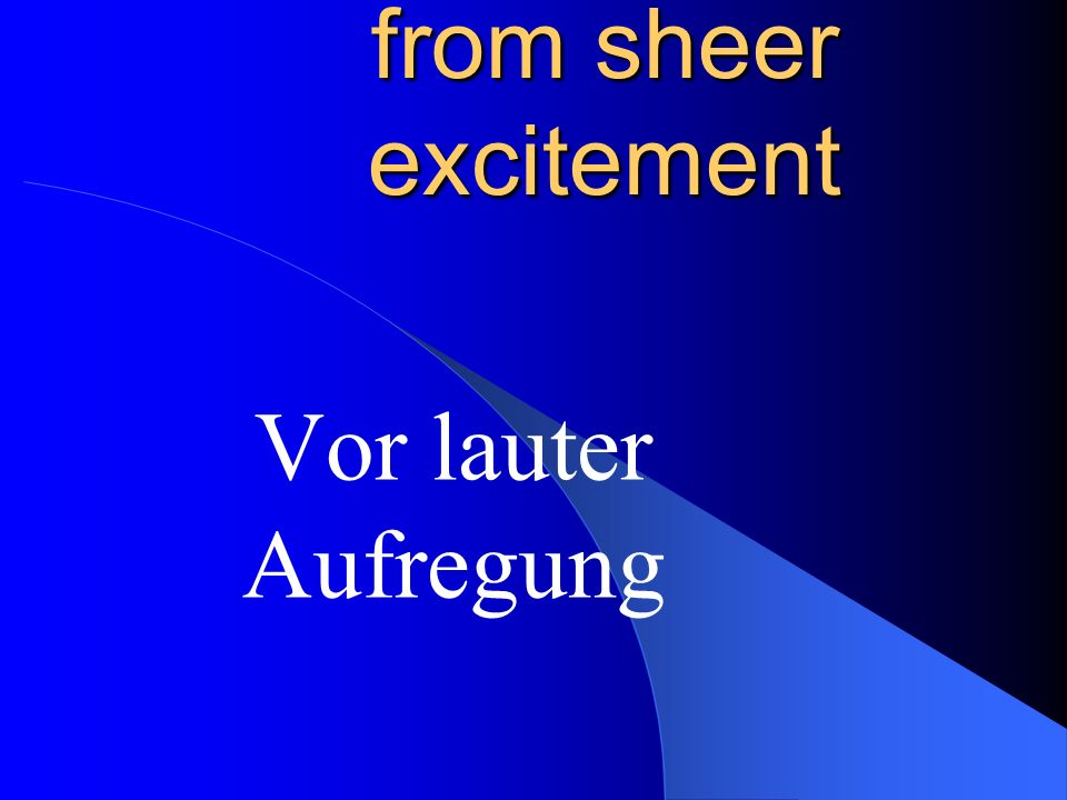 excitement Die Aufregung, -en