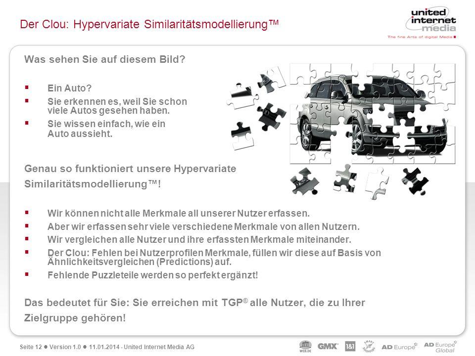 Seite 12 Version 1.0 11.01.2014 - United Internet Media AG Was sehen Sie auf diesem Bild? Ein Auto? Sie erkennen es, weil Sie schon viele Autos gesehe